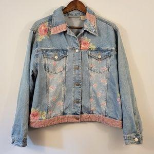 🌵Vintage roses and sequins trucker jean jacket L